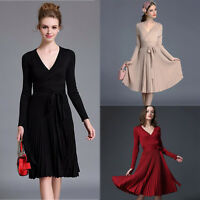 Fashion Women Slim A-line Deep V Neck Pleated Vintage Long Sleeve Knitting Dress