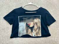 Taylor Swift Crop Top Band Tee Women's Size Large Black