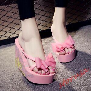 Womens Sweet Bow Tie Flip Flops Platform High Wedge Heels Printed Beach Sandals