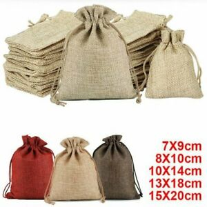 100-5Pcs Small Drawstring Pouch Bags Burlap Jute Hessian Wedding Favor Gift Cand