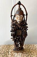African Bakongo Nkisi Nkondi Statue Nail Fetish Fly Whisk Congo, Africa