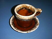 Vintage Brown Drip Pottery Oven-Proof 10 oz Coffee Cup and HULL Crestone Saucer