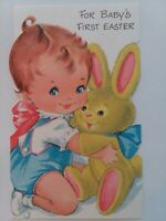 Vtg For BABY'S FIRST EASTER Baby with Fuzzy BUNNY 1960s EASTER GREETING CARD