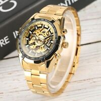 Mens Automatic Watches Mechanical Skeleton Self Winding Stainless Steel Watch