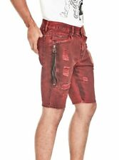 G BY GUESS SHORTS NEW MEN'S GENKI DESTROYED DENIM SHORTS SZ 32 RED