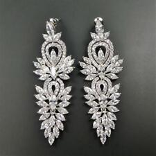 Rhodium Plated Vintage Style CZ Cluster Large Statement Chandelier Earrings