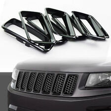 Fits 14-16 Jeep Grand Cherokee Black Grill Grille Inserts Ring 7PCS SET Kit Trig