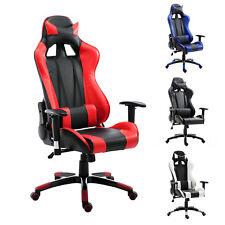Homcom Chaise de bureau Gammer hauteur Réglable inclinable 2 oreillers PU Rouge