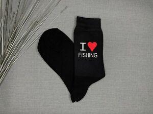 I Love Fishing Men's Novelty Black Socks Vinyl Printed Father's Day Gift