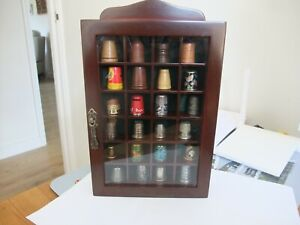 Beautiful Wooden Wall Hanging Glass Cabinet With 24 Thimbles