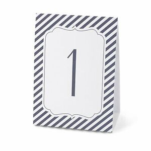 Navy Stripe - Table Number Tents (1-40)