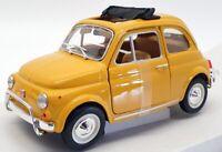 Burago 1/24 Scale Model Car #18-22099Y - 1968 Fiat 500L - Yellow