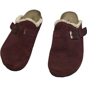 Beaver Creek Suede Wool Lined Made In Spain Womens Clogs Maroon Size US 8