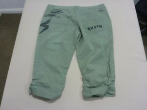 031 WOMENS EX-COND RUSTY REG FIT KHAKI LONG CARGO SHORTS SZE 12 $90 RRP.
