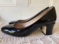 Wittner size 36 Black Patent Leather Round Toe Pumps High Block Heels 'Ashlyn'