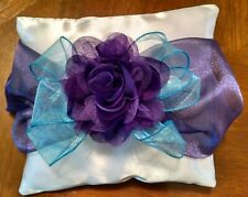 Ring Bearer Pillow, Custom Design.  White with Purple and Turquoise Organza