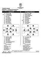 Teamsheet - Arsenal v Bayern Munich 2015/16 (20 Oct) UEFA Champions League