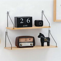 Storage Organizer Iron Rack Wooden Wall Hanging Shelf Holder Books Pot Plant