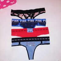 Set of 4 Victoria Secret PINK Panty Small Thong Green Pink Pink Tie Dye Blue New