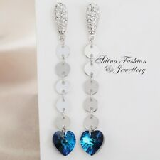 18K White Gold GF Made With Swarovski Element Teal Round Heart Drop Earrings