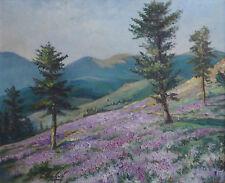 Tableau Paysage aux bruyères avec montagne et village signée cf. Anglade