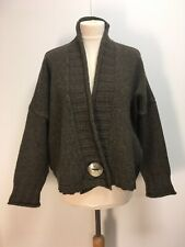 Joseph oversized cropped lagenlook cardigan khaki brown melange wool M