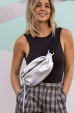 Aimee Kestenberg Milan Leather Belt Bag Silver Metallic Fanny Pack
