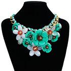 Women Crystal Flower Choker Bib Chunky Statement Chain Necklace Fashion Jewelry