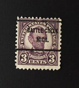 Battle Creek, Michigan Precancel - 3 cents Lincoln (U.S. #635) MI