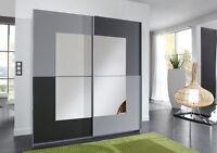 Schwebetürenschrank Kleiderschrank anthrazit grau Spiegel alufarben Neu 26170