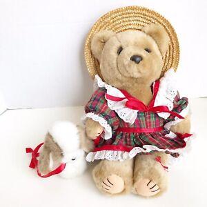 Bearly People Teddy Bear & Pet On Leash 1988 Plaid Dress Straw Sun Hat