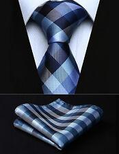 "TC804V8S Blue White Check 3.4"" Silk Woven Men Tie Necktie Handkerchief Set"