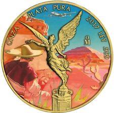 2017 1 Oz Silver Mexican RANCH DESIERT LIBERTAD Coin WITH 24K GOLD GILDED.