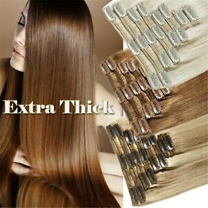 10PCS Double Weft 210gr Clip In Real Human Hair Extensions Virgin Remy Full Head