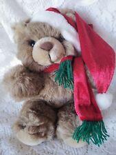 "Christmas Plush Teddy Bear Vintage Emily Toys Scarf Hat Red Green 10"" Stuffed"