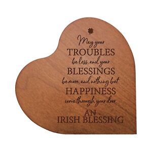 Heart Block Wooden Home Decor 5x5.25 Engraved (May Your Troubles Be Less)
