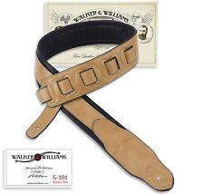 Walker & Williams G-101 Saddle Tan Padded Guitar Strap Soft Glove Leather Back
