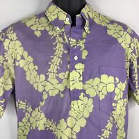 Vintage 80s Hilo Hattie Mens Purple Yellow Hawaiian Lei Popover Shirt Size M