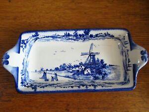 Vintage Royal Doulton Norfolk  Blue White Rectangular Sandwich Serving Plate