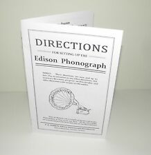 Edison Phonograph Instruction and Setting up Manual Reproduction