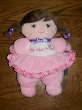 Garanimals My Best Friend Doll Brunette Pink Plush Stuffed Rattle Baby Soft Toy