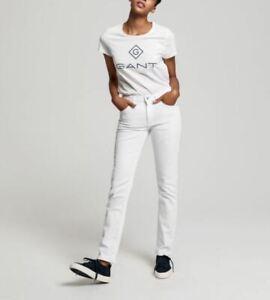 GANT CR Classic Women's Jeans Trousers Slim Fit Skinny White Size 26W 34L