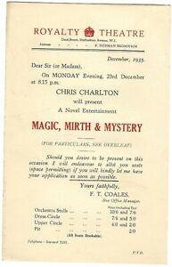 1935 Royalty theatre flyer MAGIC SHOW Charlton Fred Culpitt Kuda Bux magician