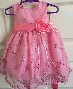 Girls pink Sleeveless sequins summer dress wedding,party,tutu size 1, 18 months