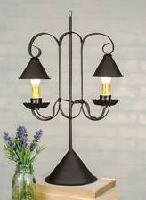 Classic Colonial Replica Double Lamp with Hanging Shades - Rustic Brown  812408