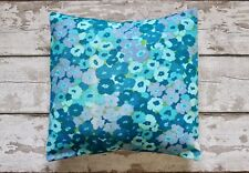 Vintage 60s Fabric Cushion Cover in Blue & Green. Retro, Shabby Chic, Flowers