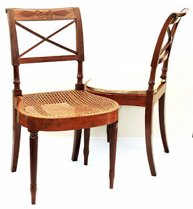 "Pair Chairs, Federal, NYC, D Phyfe, Ch Lannuier, mah, ribbon, c1815, 33""t"