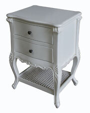 French Normandy Rattan Bedside Table 2 drawers rattan shelf Antique White BS033P