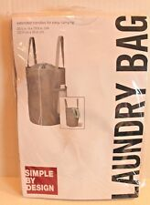 Simple By Design Gray Laundry Hamper Drawstring Bag with Handles New