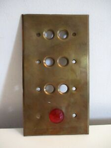 VINTAGE BRASS 4 GANG PUSH BUTTON LIGHT SWITCH PLATE WITH RED GLASS JEWEL NICE!